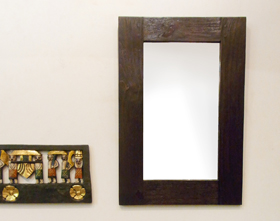 【46803】アンティークスタイル木製壁掛けミラー/ダークブラウン