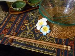 ココナッツ箸&箸置き ストライプナチュラル【48483】