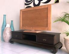 チーク材/猫脚のロータイプTVボード
