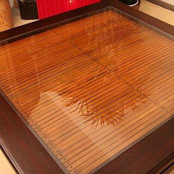 チーク材とバンブーのガラス天板ローテーブル a001l60br 詳細画像