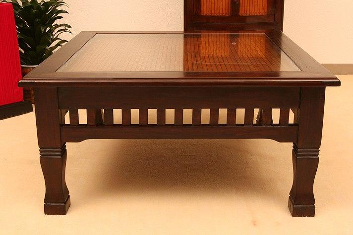 チーク材とバンブーのガラス天板ローテーブル a001l60br