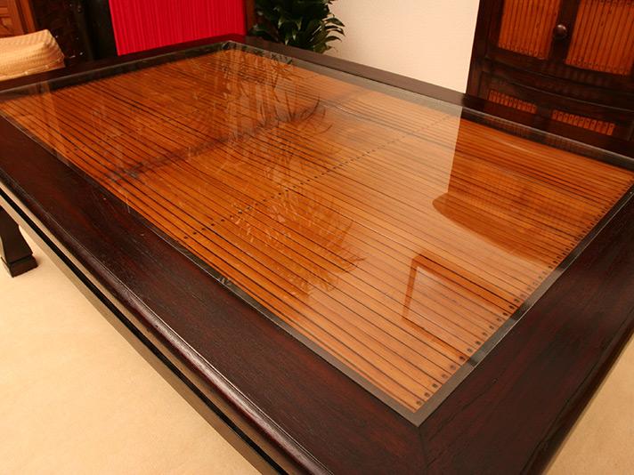チーク材とバンブーのガラス天板ローテーブル<長方形ブラウン100cm幅>【A-009L100BR】