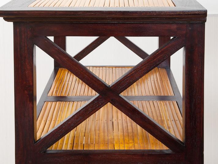 無垢材のマルチオープンラック4段/H150cm/ダークブラウン【A-016b】