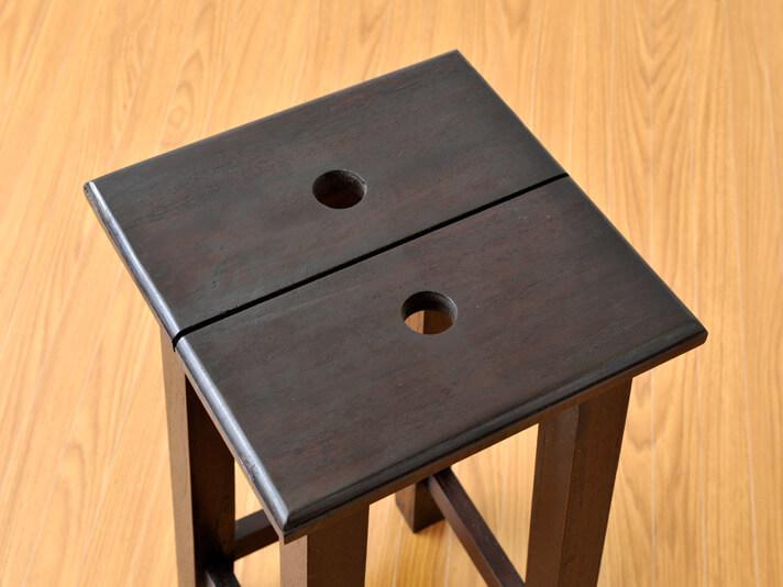 【as-239-h60db】木製チェア/チークミニスクエアスツール