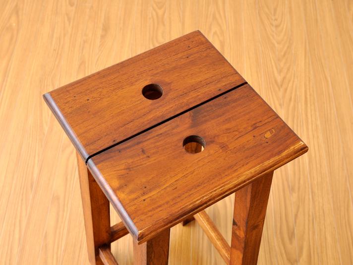 【as-239-h42lb】木製チェア/チークミニスクエアスツール