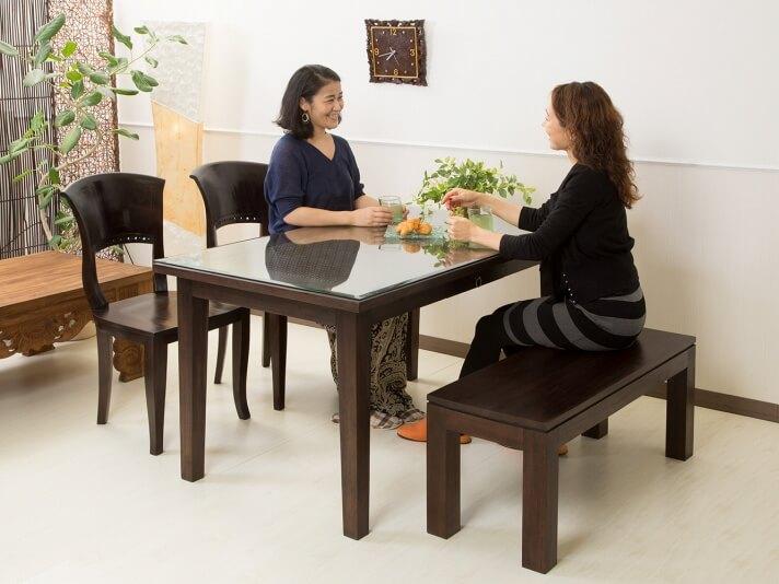 【AS-258_W150】シンセティックラタンとチークのコンビネーションが美しいダイニングテーブル