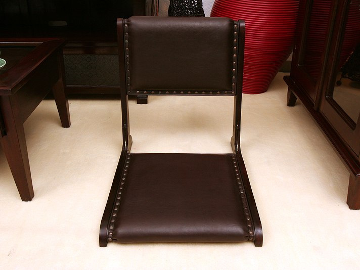 チーク×バッファローレザーのオリジナル座椅子 lnt015br