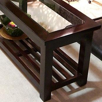 下段収納付きマホガニーとガラス天板のローテーブル lnt056br