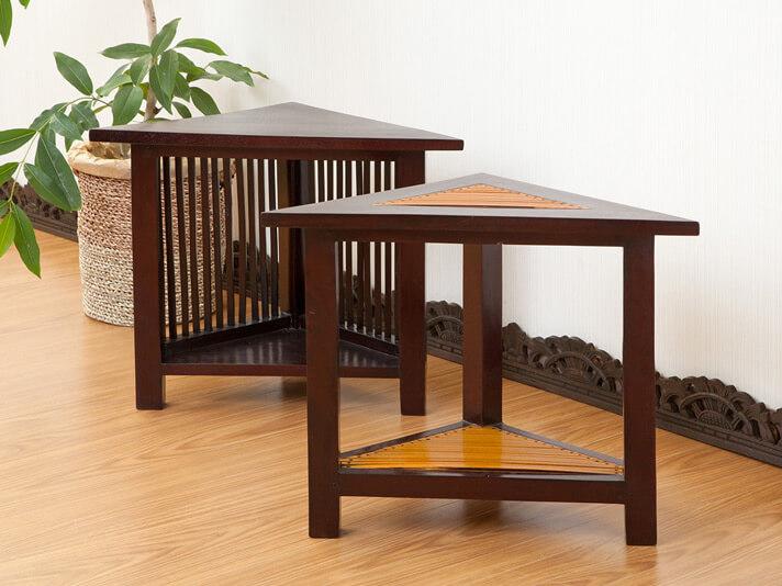 【LNT-059BR】チークとバンブーの三角サイドテーブル