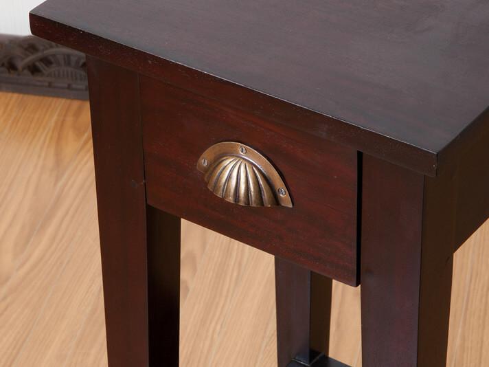 【N-002SBR】スリムタイプアンティーク調サイドテーブル2段(高さ70cm)