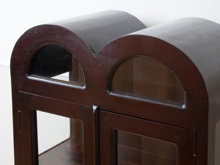【N-036BR】ドーム型フォルムのアンティーク調ガラスキャビネット
