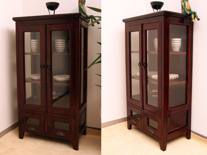 食器棚やコレクションケースにオススメ ガラス扉のマルチキャビネット【N-050BR】