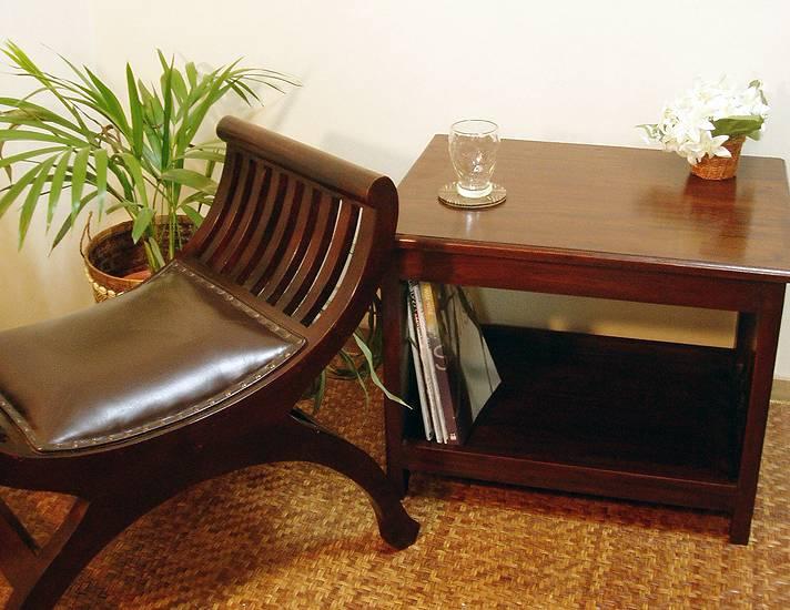 ☆入荷後即完売の人気商品☆マホガニー材のオールマイティーサイドテーブル【N-056BR】