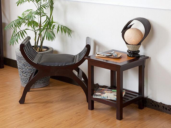 【N-057BR】収納段付きバンブーサイドテーブル