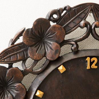 【47658】アジアンカービング時計 フランジパニ