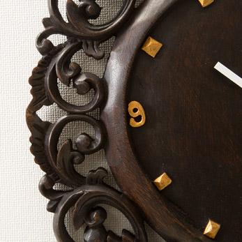 【47659】アジアンカービング時計 ロータス