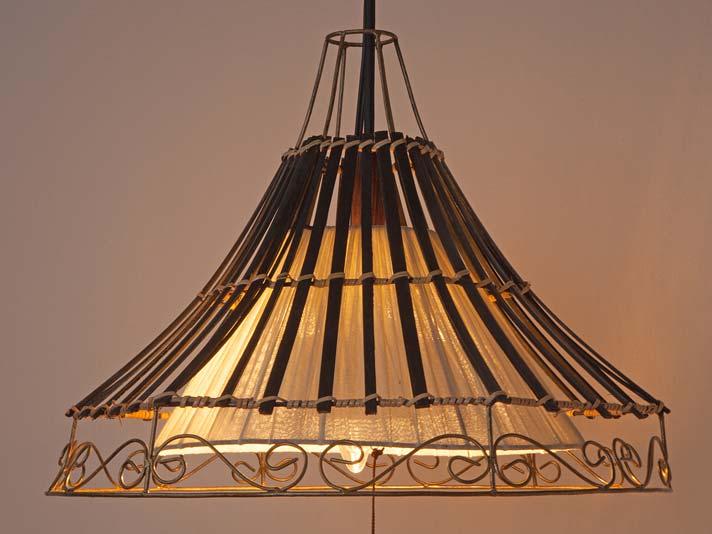 アイアン×バンブーデコレーション天吊りランプ