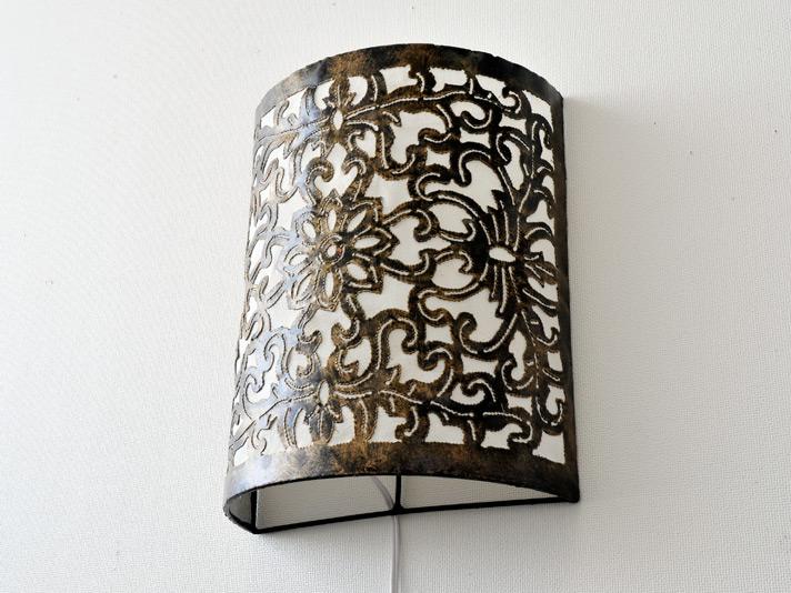 【50443】フラワーカービングアイアン壁掛けランプ