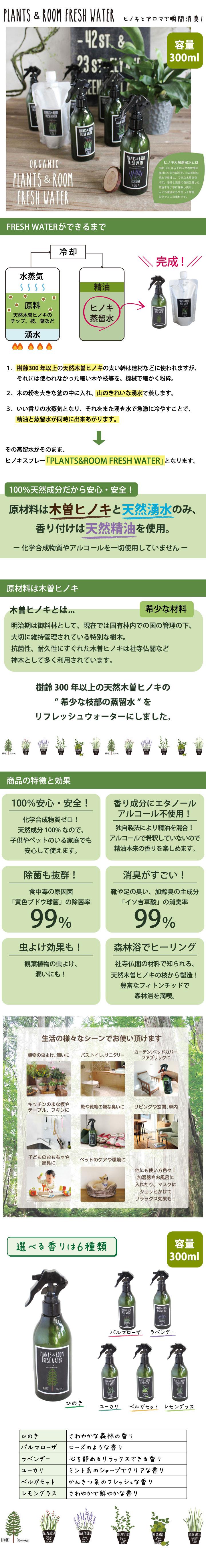 【50612ar】天然成分100%ヒノキ水除菌消臭スプレー