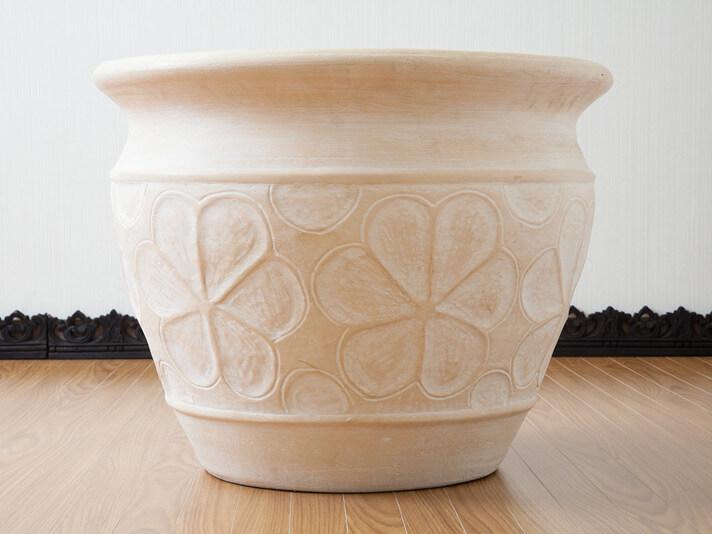 < Lサイズ >テラコッタ製鉢カバーフランジパニ【50781】