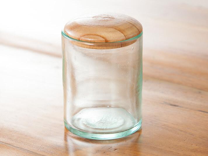 チークふた付きバリガラス製ミニポット/Lサイズ【50870】