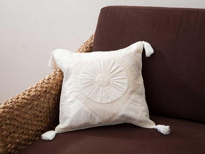 【cushioncover-white】アジアンクッションカバー/【49026】ナチュラルクリーム