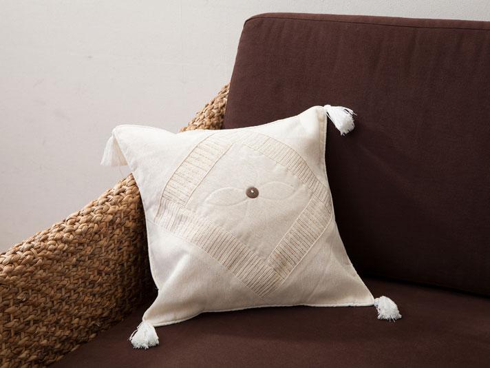 【cushioncover-white】アジアンクッションカバー/ホワイト