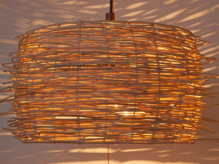 ラタン天吊りスパゲッティボールランプ2色