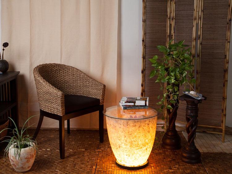 【46877】ガラス天板テーブル型天然石ランプ