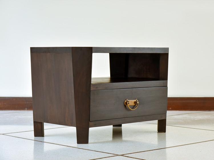 【AS-126】縁起の良い八角形の木製アジアンサイドテーブル