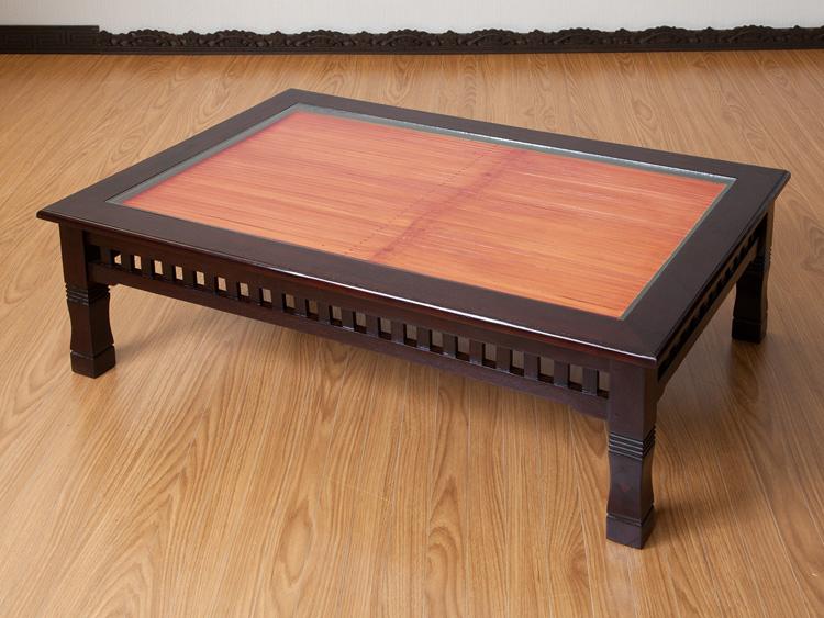 【a-009l90br】ガラス天板のバリリゾートテイストローテーブル/ダークブラウン90×60cm[サイズ・カラー違いあり]