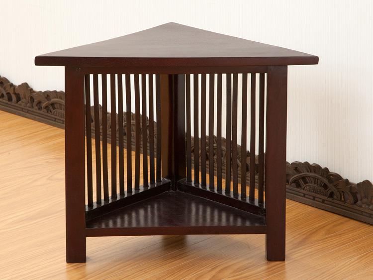 【LNT-060BR】格子デザインの三角サイドテーブル