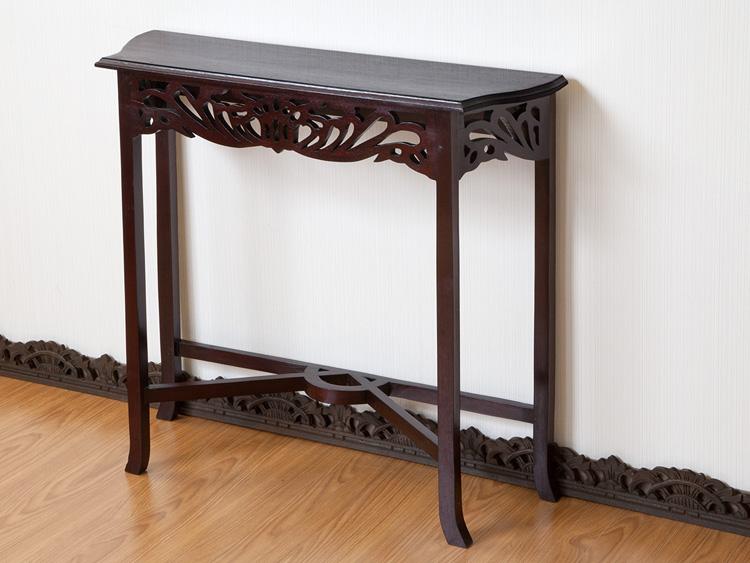 【N-089BR】透かし彫りが美しい薄型コンソールテーブル