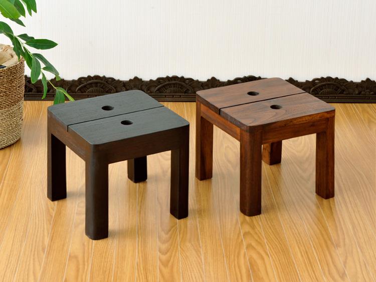 アジアンシンプルな無垢材コンパクトチェア