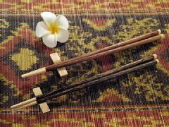 【48485】ココナッツ箸&箸置き [メール便対応商品]ライトブラウン